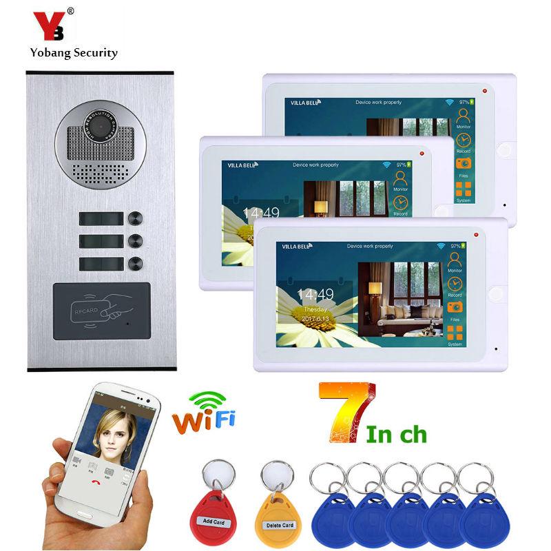 4.3inch 3 Apartment/Family Video Door Phone Intercom System RFID IR-CUT HD 1000TVL Camera Doorbell Camera With 3 Button Monitor