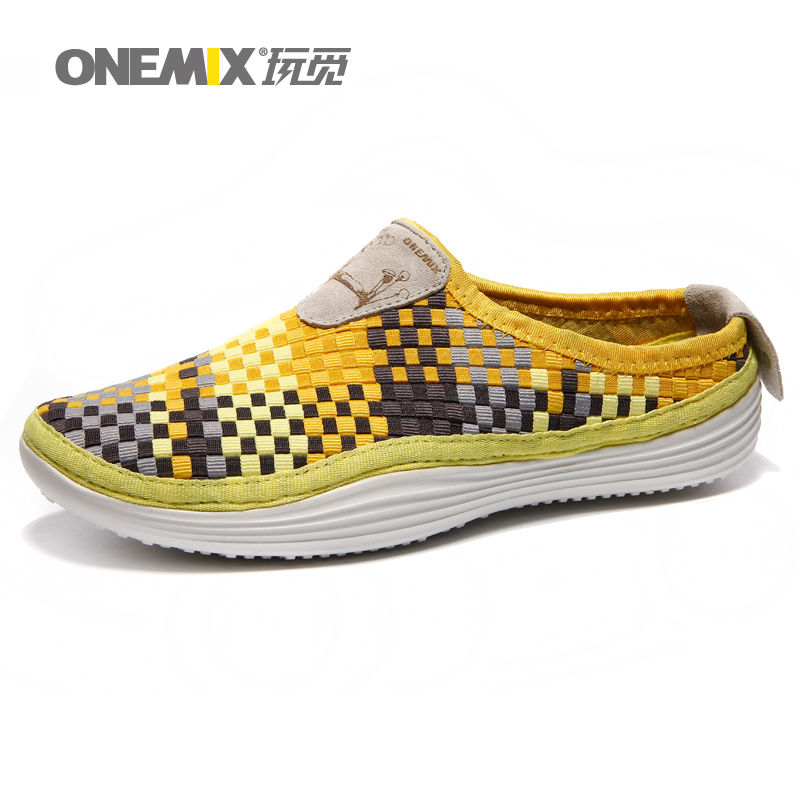 Onemix 2016 Men's breathable weaving walking shoes  summer outdoor candy color lazy loafers water sports shoes aqua beach от Aliexpress INT