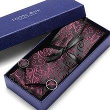 Luxurious Red Floral Suit Tie 100% Silk Men For Wedding Business  Necktie Handkerchief Mens Dress Ties Gift Box Packing
