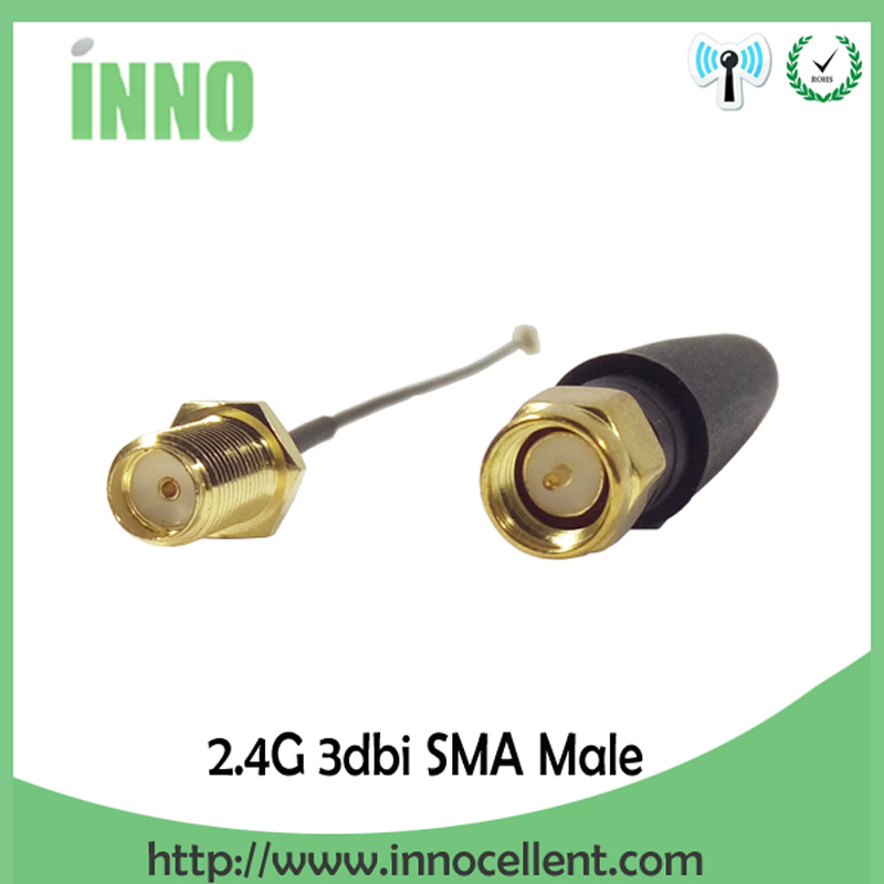 10pcs WiFi 2 4 GHz Antenna 2 3dBi SMA Male Connector 2 4ghz antena Aerial wifi Router PCI U FL IPX to RP SMA Male Pigtail Cable in Antennas for Communications from Cellphones Telecommunications