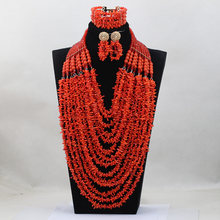 Long Design Unique Orange Coral Beads Jewelry sets African Wedding Bridal/Women Beads Necklace Jewelry Set Free Shipping CJ832(China)