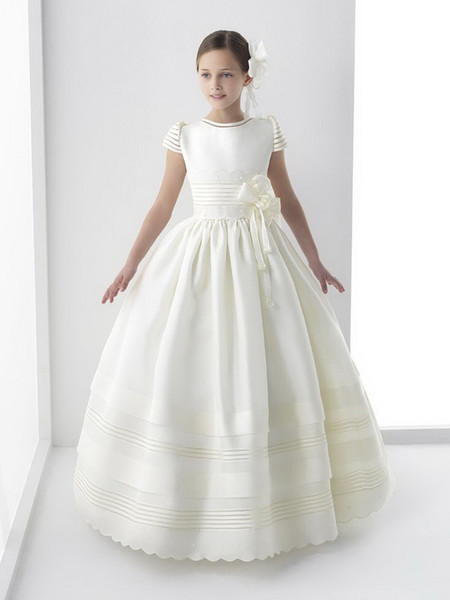 2018   Flower     Girl     Dresses   first Communion Short Sleeves Vintage Children Little Kids Satin A line Wedding Party Gown robe fille