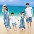 Пляж Семья Соответствующие Наряды Матери/Мама и Дочь Платье Семья Одежда Отец и Сын Одежда Наборы Семьи Платья FN09