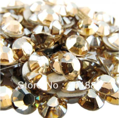Gold Shadow Non Hotfix Crystal Rhinestones For Nails Art Decoration SS3-SS30 Flatback Glue On Strass Stones nail art decorations crystal hotfix diy rhinestones for nails ss6 ss30 and mixed smoked topaz strass nail art glass stone glitter decoration design