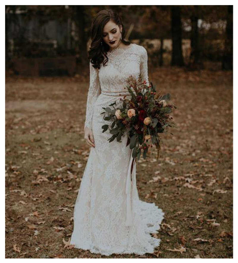LORIE Boho Wedding Dresses Long Sleeve Appliques Lace inside Satin Outside Button Back Princess Bride Dress Wedding Gown