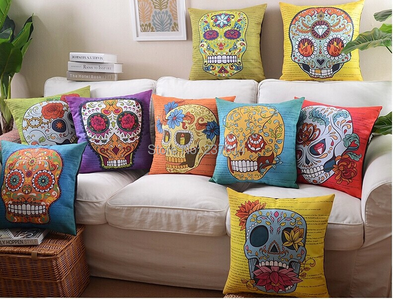 skull mexican pillow case almofada colorful skull pillow linen cotton throw pillow cushion for car sofa