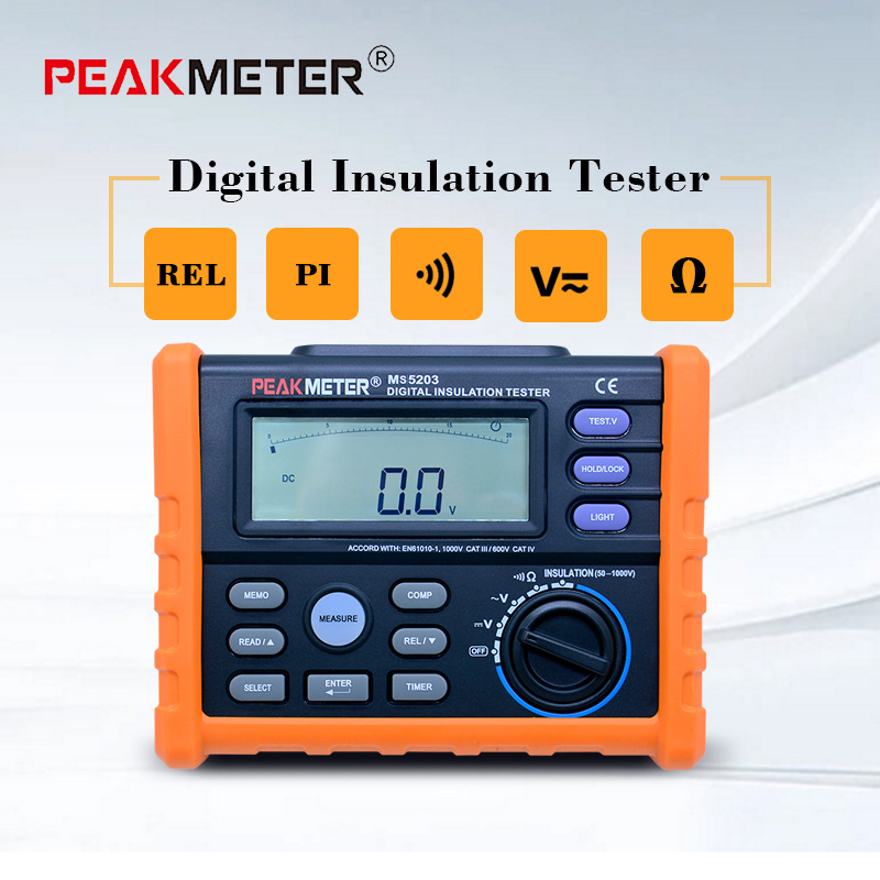 PEAKMETER Analog and Digital 1000V MS5203 Insulation Resistance Tester megger meter 0.01~10G Ohm with MultimeterPEAKMETER Analog and Digital 1000V MS5203 Insulation Resistance Tester megger meter 0.01~10G Ohm with Multimeter