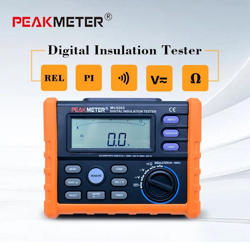PEAKMETER Analog and Digital 1000V MS5203 Insulation Resistance Tester  megger meter 0 01~10G Ohm with Multimeter