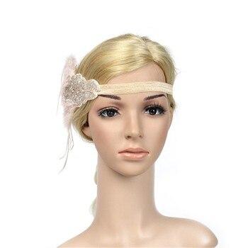1920s Headpiece Feather Flapper Headband Great Gatsby Headdress Vintage party 1 free shipping #N05 headpiece
