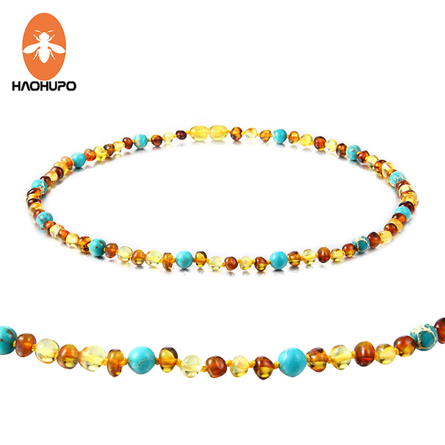 HAOHUPO Amber Bracelet/Necklace with Natural Turquoise Women Jewelry Unique Chok