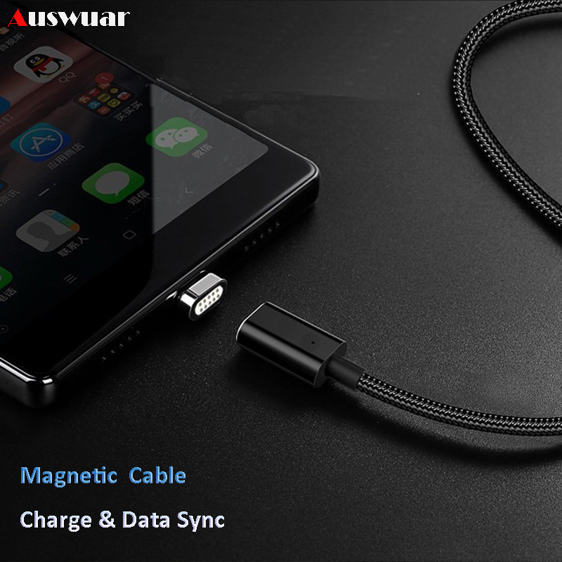 Magnetic Charge Cable Nylon Braid For IPhone 5 5s 6 6s 7 8 Plus 1M 2.4A Fast Charging Data Sync Charger Adapters Cable Cord Wire