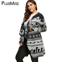 PlusMiss Plus Size 5XL Halloween Skull Print Knitted Cardigan Women Autumn Long Loose Sweater Collarless Outwear