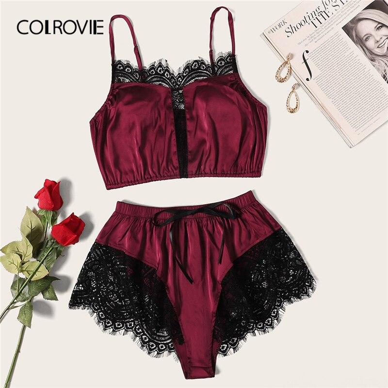 COLROVIE Burgundy Floral Lace Satin Lingerie   Set   2019 Summer Bralettes Shortie Sexy   Sets   Ladies   Bra   And Panty Underwear   Set