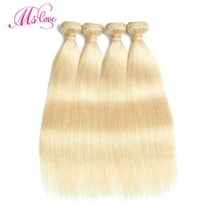 Image 2 - Blond 613 wiązki proste włosy ludzkie brazylijskie włosy wyplata wiązki 1 2 3 4 wiązki Remy włosy Mslove mogą być barwione dowolny kolor