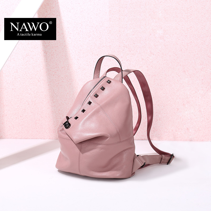 NAWO Fashion Genuine Leather Backpack Rivet Women Bags Preppy Style Backpack Girls School Bags Zipper Large