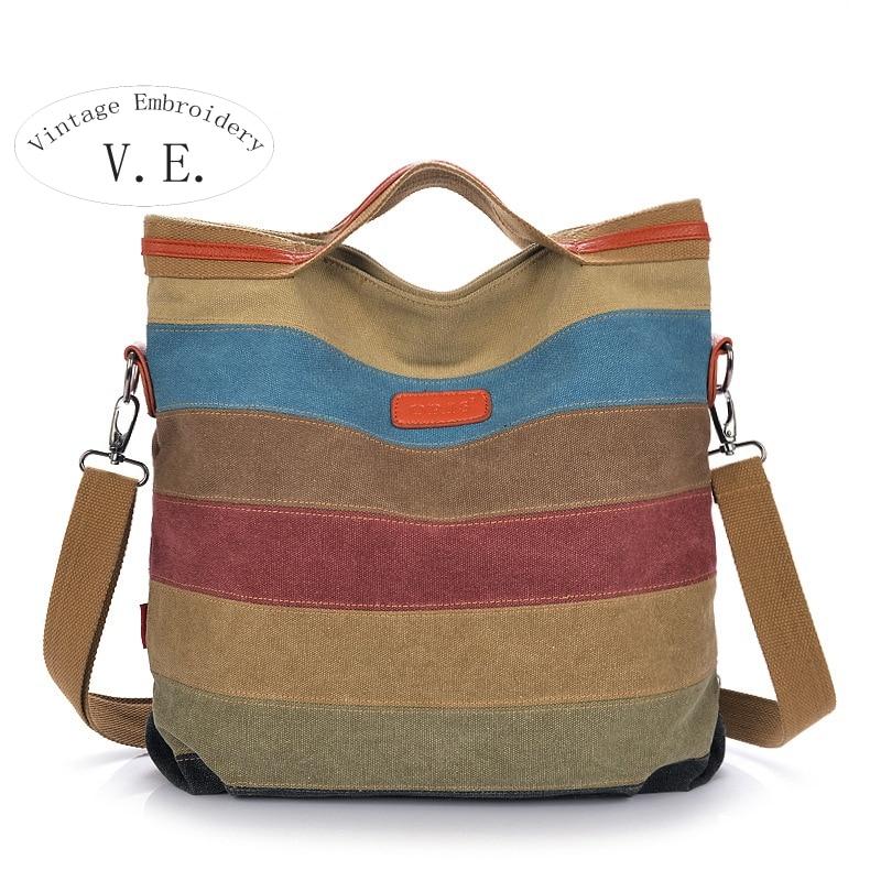 Vintage Embroidery New Stripe Women Shoulder Pouch Messenger Bag Women Canvas Handbag Women s Handbags Patchwork