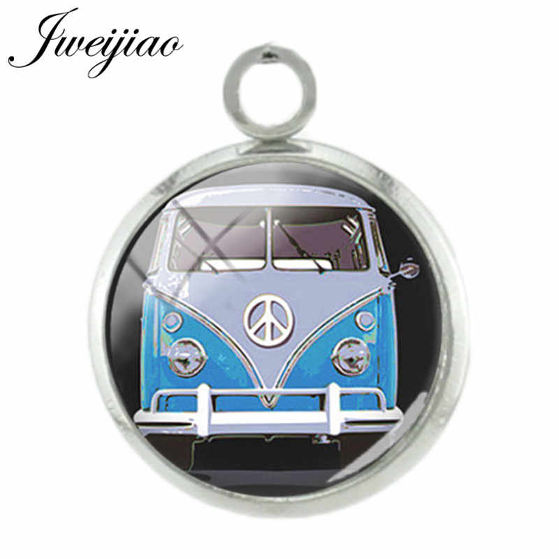 JWEIJIAO Vintage Hippie Peace Sign Van Bus Pendant 12mm Art Picture Glass Cabochon Charm For Necklace Earrings Accessories CT91