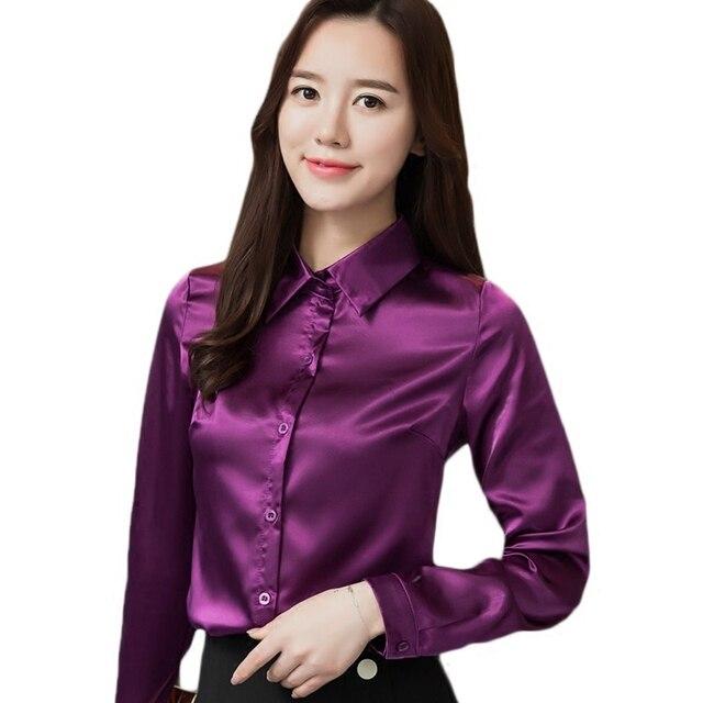 17323bea72203 high quality Women Imitation silk satin blouse button long sleeve lapel  ladies office work shirts satin silk blouses shirt