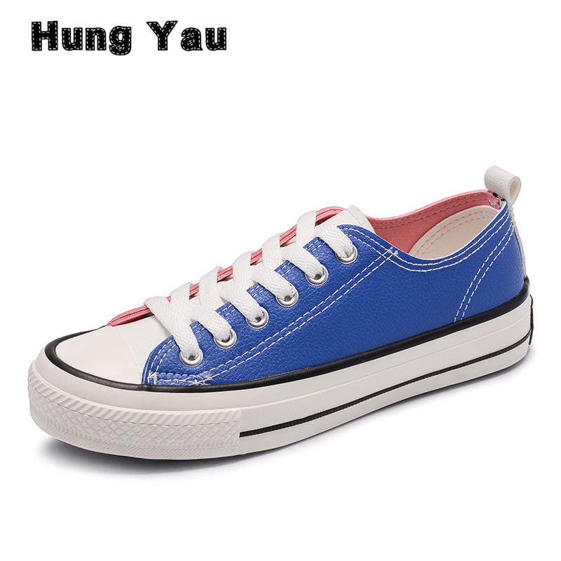 Hung Yau Women Vulcanize Shoes Flat Fashion PU Shoes Women Sneakers Casual Students Breathable Walking Colorful Shoes Size 9 de la chance women vulcanize shoes platform breathable canvas shoes woman wedge sneakers casual fashion candy color students