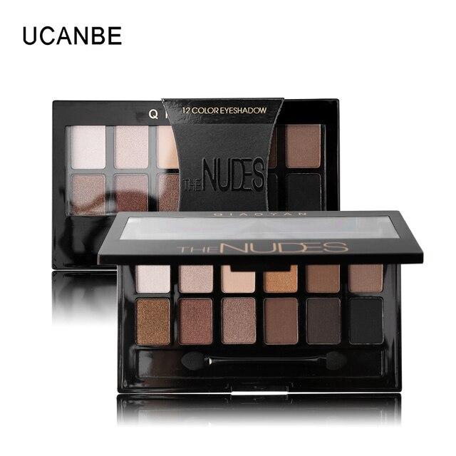 Ucanbe 12 цветов pro nude земли naked макияж палитра теней с кисточкой дымчатый тени для век shimmer матовая минеральная водонепроницаемый комплекты