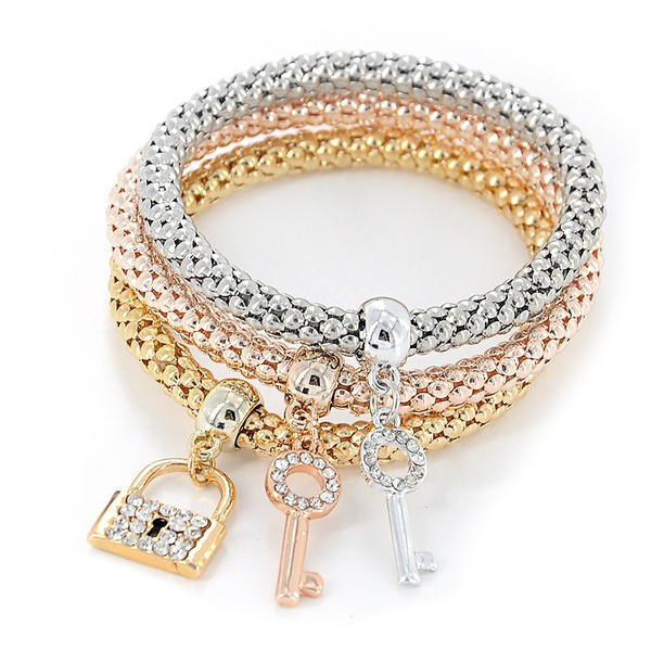 1set 3pcs font b fashion b font Crystal Elastic Rhinestones Key Lock Pendant Bracelet font b