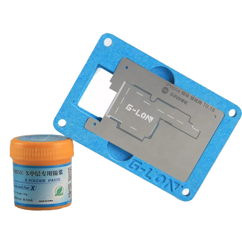 Phone Motherboard Repair Tools Kit With Solder Paste for iPhone X Planting Tin Fixture Logic Board Soldering Net Outillage ud p3012 repair part planting tin plate for iphone 5 silver