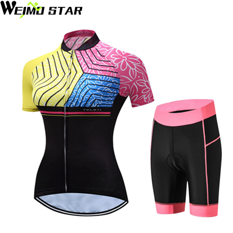WEIMOSTAR Team Womens Ropa Ciclismo Bike Jersey Shorts Sets Jersey Cycling Clothing Girl Bicycle Top Padded Bottom Suits S-XXXL