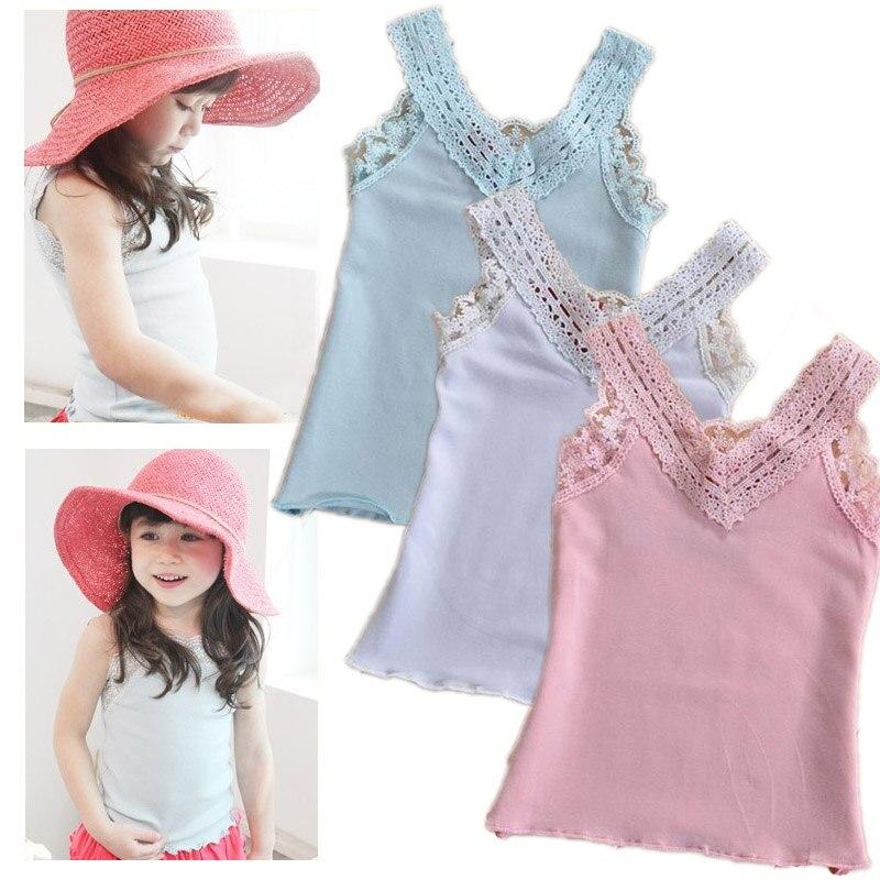 b8a0da1baa Niñas Encaje chaleco bebé v-cuello de algodón tops chica moda para el verano