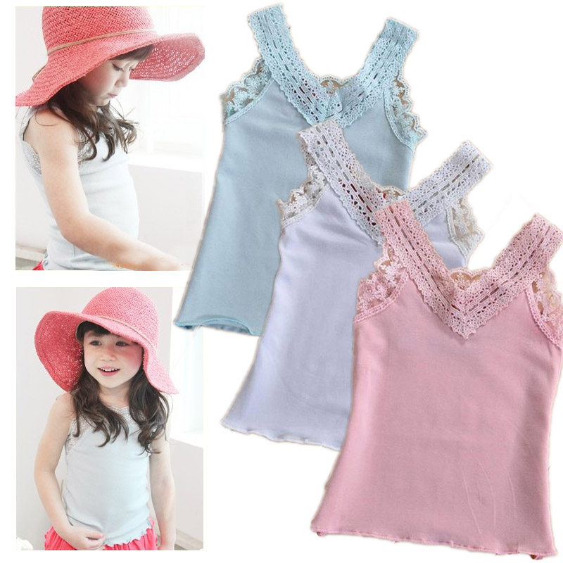 Toddler girls Lace Vest baby kids V-neck cotton tops girl fashion t shirt for Summer