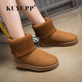 KUYUPP Patchwork Knitting Wool Women Snow Boots Winter Shoes 2017 Flat Heels Warm Plush Ankle Boots Slip On Women Shoes DX119