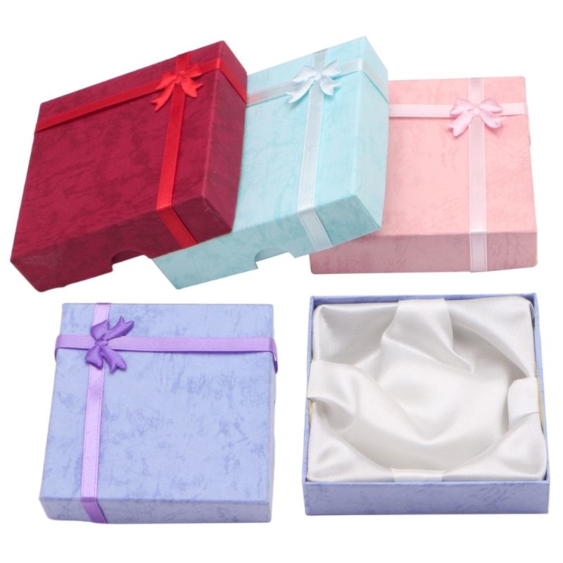 Bowknot Jewellery Necklace Bracelet Present Gift Box Case Fashion Square Package Jewelry Box Packaging