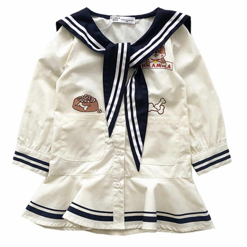 Tonytaobaby Estilo Lolita Gola Marinheiro Vestido de Outono Nova Crianças Crianças Se Vestem Meninas de Manga Longa
