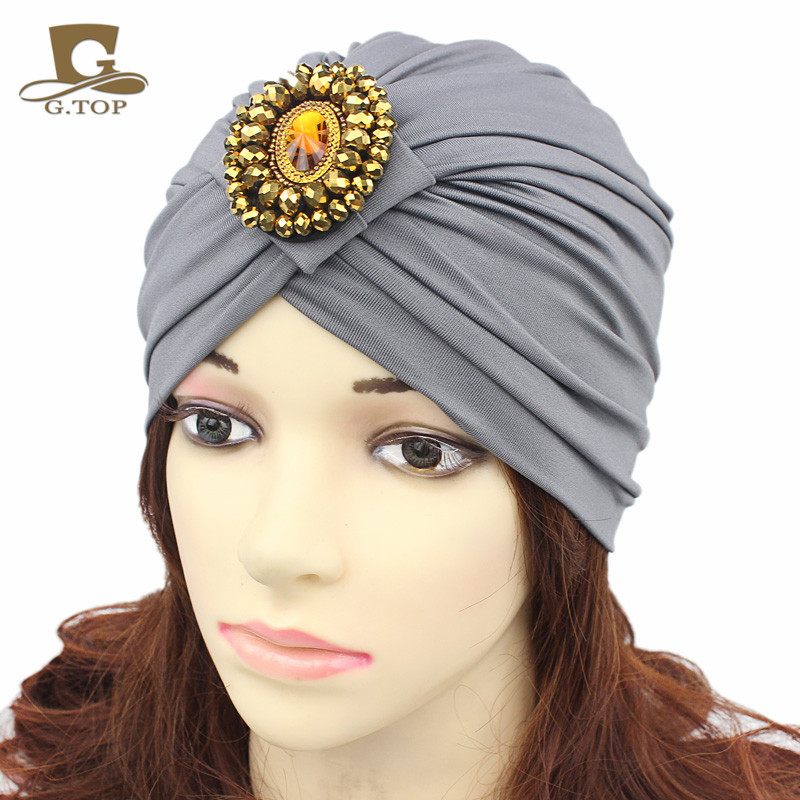 New Stretchy Turban Band Sleep Hat women Head Wrap muslim cap women indian caps Jewel Accessory Chemo Bandana Hijab turban hat womensdate 19 color indian cap for women turban hats women s head wrap band hat beanies stretchy chemo bandana hijab 1pcs