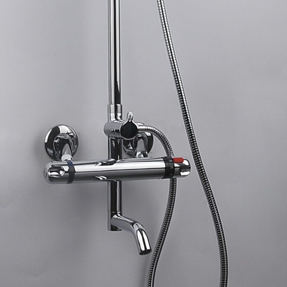 Brass Thermostatic Shower Faucet Mixing Valve Dual Handle: Thermostatic Shower Faucet Bathroom Wall Mounted