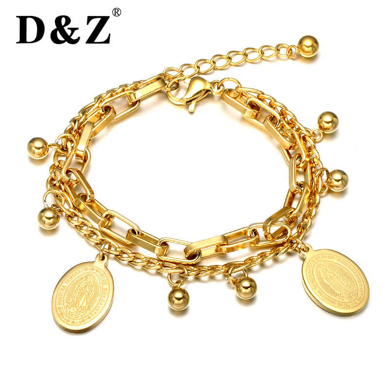 D&Z Religious Gold Color Beads Virgin Mary Bracelet Stainless Steel Charm Catholic Bracelets for Women Jewelry Gift for Mother
