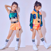 Childrens Modern Dancewear Orange Hip-hop Costume Fashion Sequin Street Dance Costumes Kids Performance Party Clothes