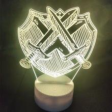 Настольная акриловая светодиодная лампа 3d ночсветильник 7 цветов