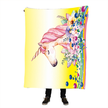Circle Pink Unicorn Nap blanket Printed Super Soft Cozy Velvet Plush Throw Blanket Art Sherpa blanket Throw Travel