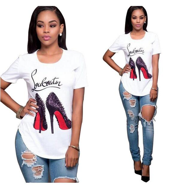 4f203539 women tops and tees 2018 summer Shoes Heels Print 3D Funny t-shirt o neck  letters shirt louboutin t shirt