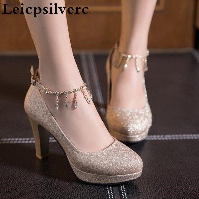春と秋のファッションドレス独身女性の靴韓国ダイヤモンドスパンコールゴールドとシルバーブライドメイド靴