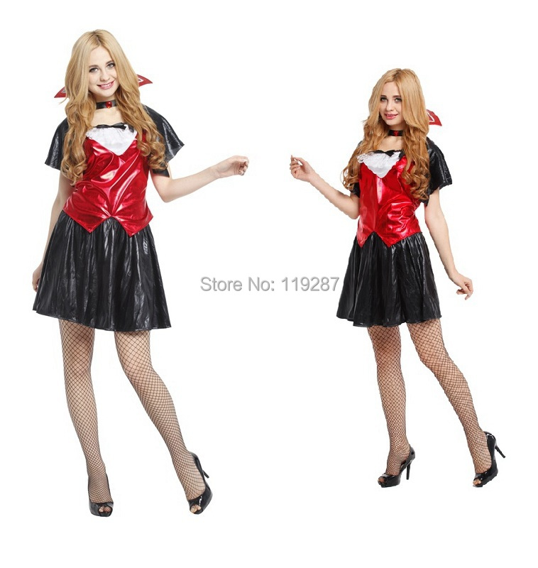 new arrive women halloween costumes adult cute vampire cosplay costumes sexy unifrom one size - Cheap Halloween Dresses