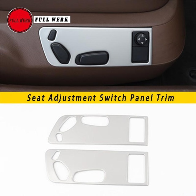 1 Pair SS Car Styling Seat Adjustment Switch Panel Trim Cover Frame for VW Phaeton Seat Decoration Sticker Interior Moulding