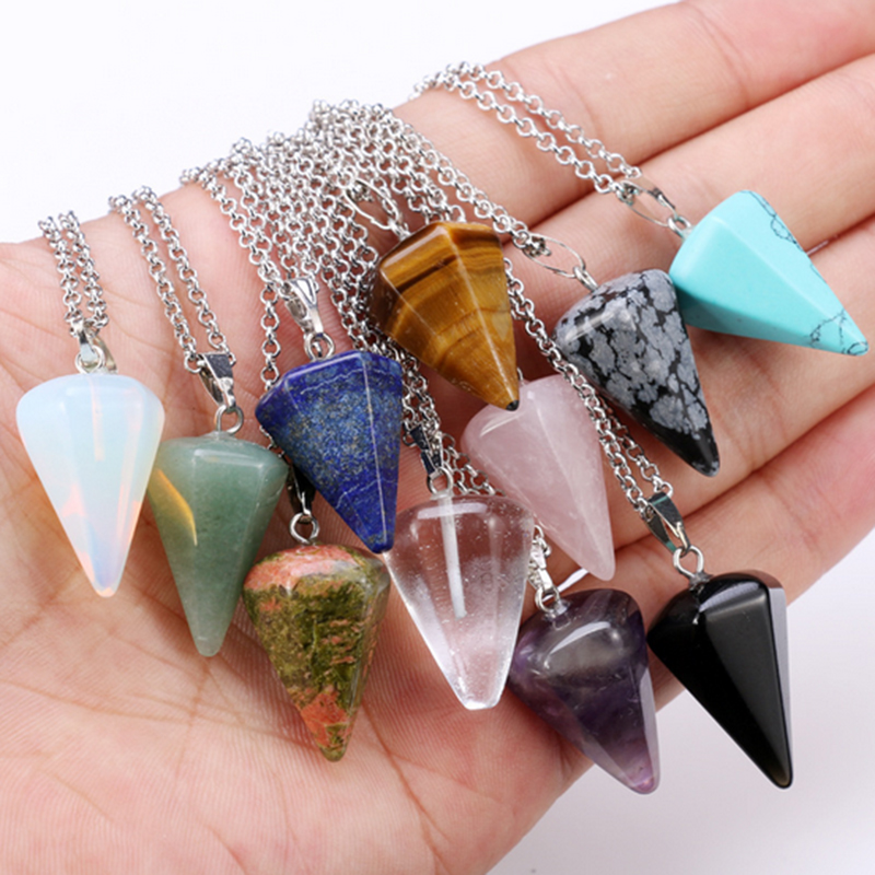 New Natural stone Quartz stone pendant Chain necklace Women Statement Fashion Jewelry in Pendant Necklaces from Jewelry Accessories