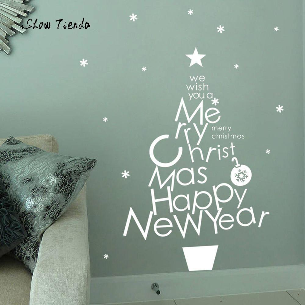 Christmas Tree Snowflake Shop Window Stickers Merry Christmas Household Room Window Wall Sticker Mural Decor Decal Removable