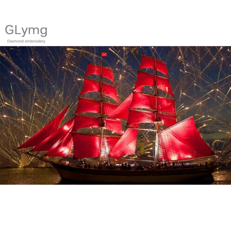 Craft Needlework Fireworks Scenery 5D Diy Diamond Painting Full Red Sailboat Diamond Embroidery Square Drill Mosaic Picture