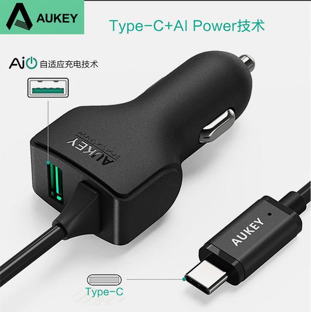 Aukey lg g5 5 v 3a carga rápida carregador do telefone do carro com o tipo-c cabo para xiaomi mi5 auto adaptador para huawei p9 usb samsung iphone