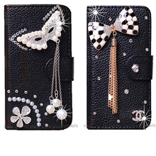 DIY Cute Luxury Crystal Diamond Flip Leather Case Cover For iPhone 7 Plus 5.5 Handmade Bling PU Mobile Phone Cases