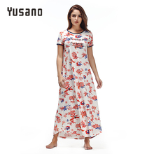 Yusano 2017 Women Long Nightdress Cotton Loose Nightgowns Casual O-Neck Short Sleeve Letter Floral Print Sleepwear Nighty(China)