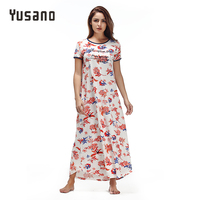 Yusano Women Nightgown Cotton Long Nightdress Casual Loose Home Clothes Letter Floral Print Sleepwear S-XL Homewear Nighty