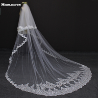 2017 New Style Two Layers Full Edge with Lace Luxury 3 Meters Long Wedding Veil with Comb White Ivory Bridal Veil Velos De Novia